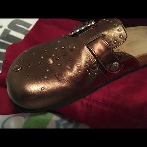 Birkenstock Shoes - Birkenstock Betula Bronze Clog w/Rhinestones